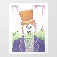willy wonka Art Prints featuring Wonka by Mon Chaton