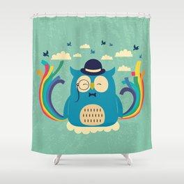 Happy owl with rainbow Shower Curtain