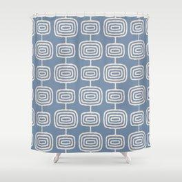 Mid Century Modern Atomic Rings Pattern Gray Blue Shower Curtain