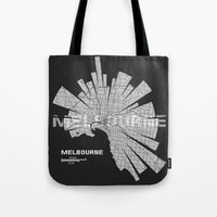 melbourne Tote Bags featuring Melbourne Map by Shirt Urbanization