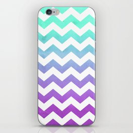 Purple Mint Aqua Ombre Chevron Pattern iPhone Skin