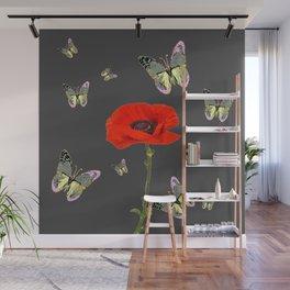 RED POPPY FLOWER & GREY BUTTERFLIES Wall Mural