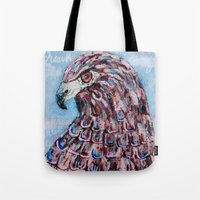 hawk Tote Bags featuring hawk by Brittany Rae