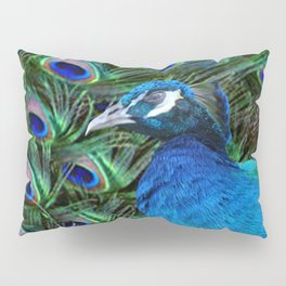 Blue Peacock and Feathers Pillow Sham