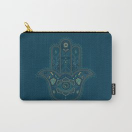 Hamsa Hand in Blue and Gold Carry-All Pouch