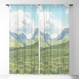 Lush Vegetation Mountain Valley  Sheer Curtain