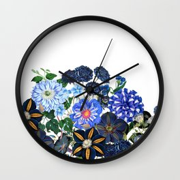 Vintage & Shabby Chic - Blue Flower Summer Meadow Wall Clock
