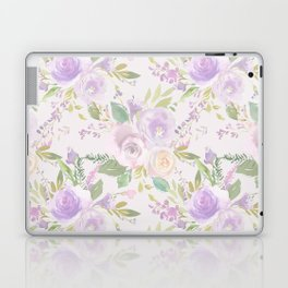 Blush lavender green watercolor hand painted floral Laptop & iPad Skin