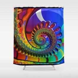SPIRAL, RAINBOW, fractals by Alice Kelly, prints, gifts and decor  Shower Curtain