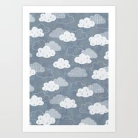 clouds Art Prints featuring RAIN CLOUDS by Daisy Beatrice