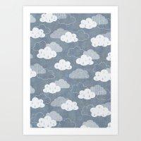 rain Art Prints featuring RAIN CLOUDS by Daisy Beatrice