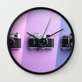 Multiple vintage cameras Wall Clock