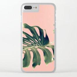 Monstera Blush Clear iPhone Case