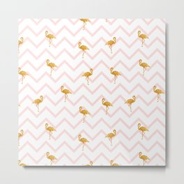 Gold Flamingo Metal Print