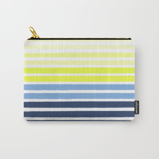 Stripes - Navy and Yellow -- Bright Summer Stripe Design for Cell Phone Case Carry-All Pouch
