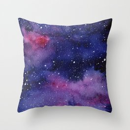 Watercolor Galaxy Nebula Pink Purple Sky Stars Throw Pillow