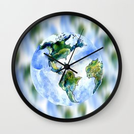 Hand Drawn Earth Wall Clock