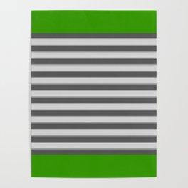 Green Black White Stripes Poster