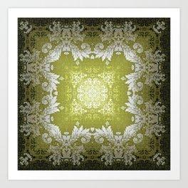 Kaleidoscope No.48 - Olivine Damask Art Print