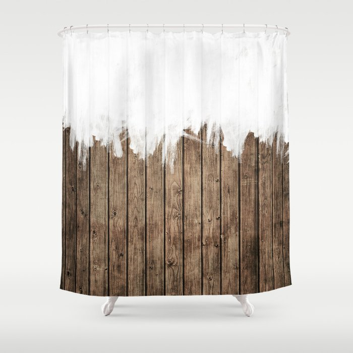 White Abstract Paint On Brown Rustic Striped Wood Shower Curtain