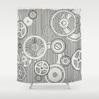 arya stark Shower Curtains featuring Stark Gears by Samantha Lynn