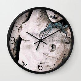 Rotten Apple: Turquoise (nude topless girl, erotic graffiti portrait) Wall Clock