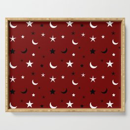Red background with black and white moon and star pattern Serving Tray