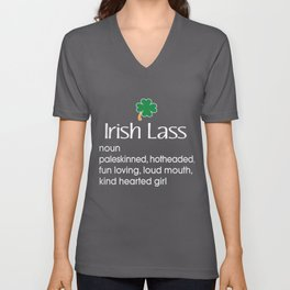 Funny Irish Lass Definition Gift for Irish Gifts Unisex V-Neck