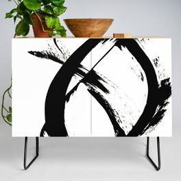 Brushstroke 7: a minimal, abstract, black and white piece Credenza