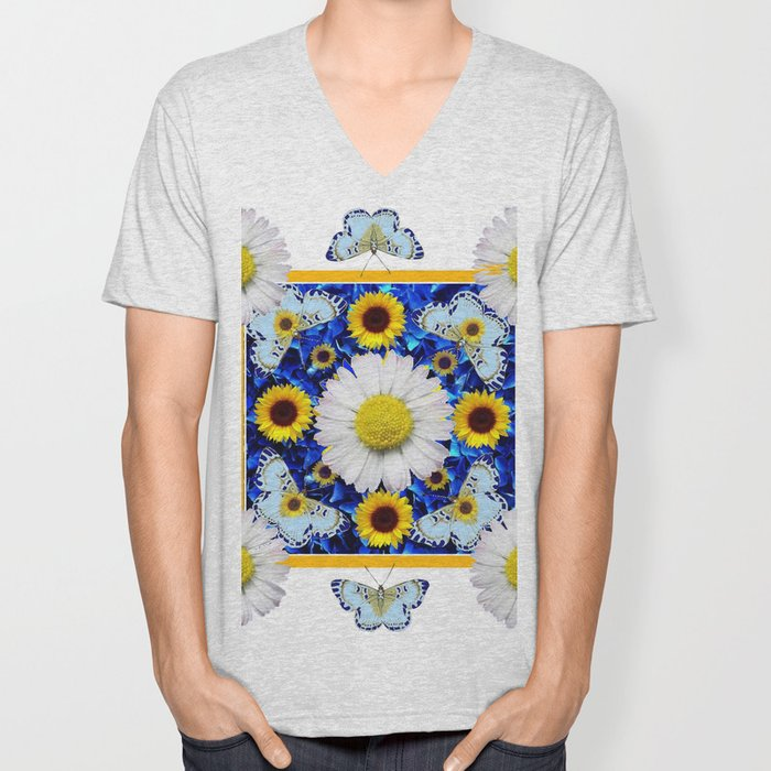 EVERYTHING'S COMING UP DAISIES & BUTTERFLIES  BLUE  ART Unisex V-Neck