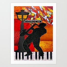 Bourbon St. Jazz Saxophone Player Art Print