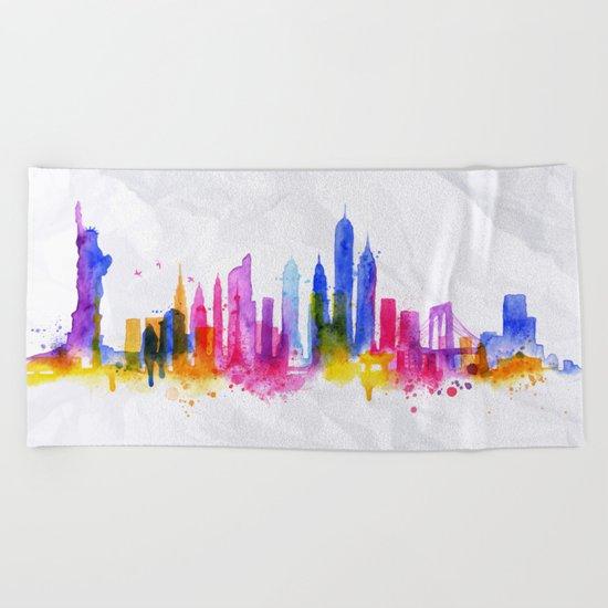 Color New York Skyline 01 Beach Towel