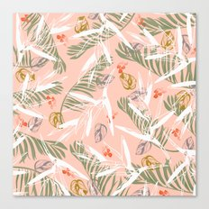 Leaf and flowers tropical pattern Canvas Print