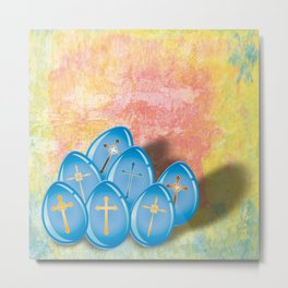 Blue eggs and crosses on pastel textured background Metal Print