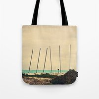 boats Tote Bags featuring Boats by Kiera Wilson