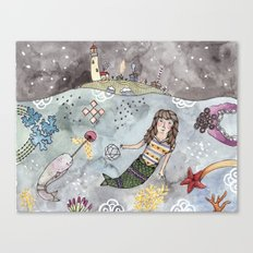 Mermaid and Narwhal Friend Canvas Print