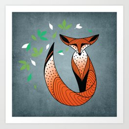 Dame Renard - Grey background with leaves Art Print
