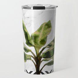 Banana Plant on White Marble and Checker Wall Travel Mug