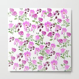 pinkish purple flowers pattern Metal Print