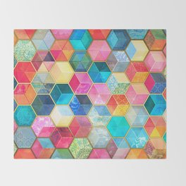 Crystal Bohemian Honeycomb Cubes - colorful hexagon pattern Throw Blanket
