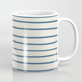 Blue Hand Drawn Horizontal Lines on Linen White Pairs To 2020 Color of the Year Chinese Porcelain Coffee Mug