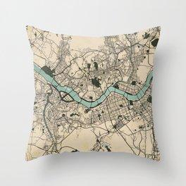 Seoul City Map of South Korea - Vintage Throw Pillow