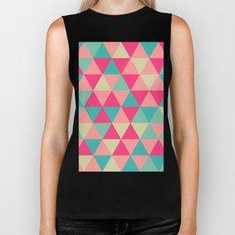 Funky Teal Pink Geometric Pattern Biker Tank