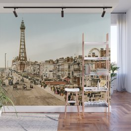 The Promenade at Blackpool, Lancashire, England 1898 Wall Mural