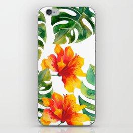 Monstera And Hibiscus iPhone Skin