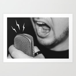 Man screaming on the microphone Art Print