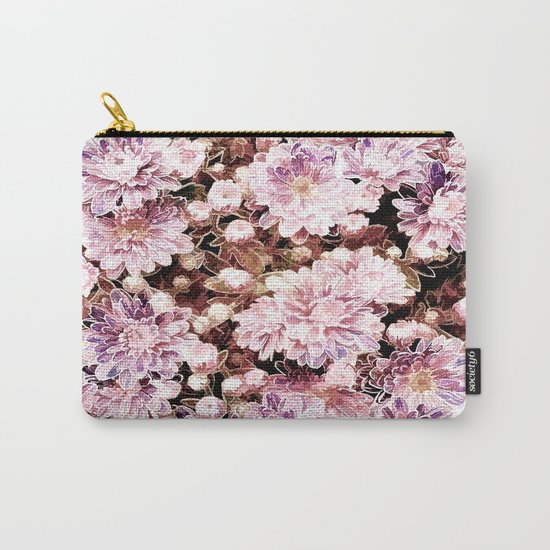 Rose And Gold Floral Carry-All Pouch
