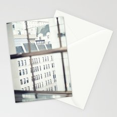 New York, NYC, windows on black and white Stationery Cards