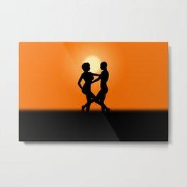 Sunset Dancing Lovers Metal Print