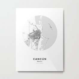 Cancún Circle Map Metal Print